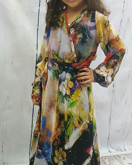Mia s Shirt-Collar Neckline Chiffon Long Sleeve Maxi Dress - Childrens Dresses - AME013