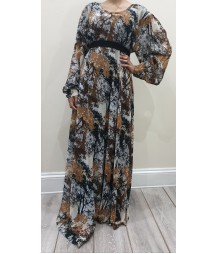 Earth Print chiffon dress