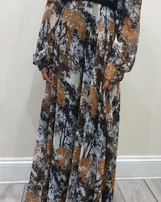 brown and black earth print chiffon long sleeve dress - New Arrivals - ear19