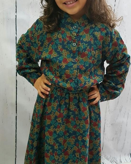 Mia s Floral Print Cotton Long Sleeve Maxi Dress - Childrens Dresses - AME018