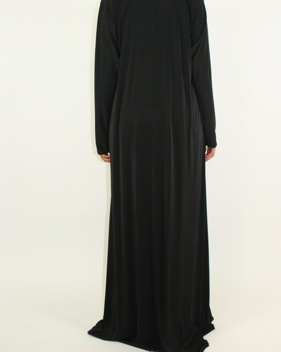 V-shaped neckline Azeeza Abaya Black and Burgundy Paisley Jersey Stretch - Abayas - D015