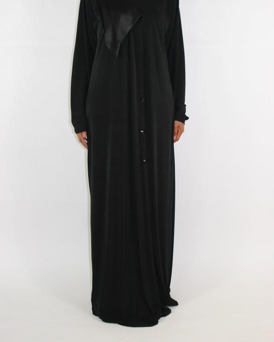 Azzah Jersey Black Abaya - Abayas - D013