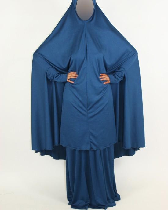 Amani's 2 Piece Blue Jersey Stretch Overhead Jilbab – Burka – Burqa Style UK - Burqa - Jilbabs - Burka - Jilbab005