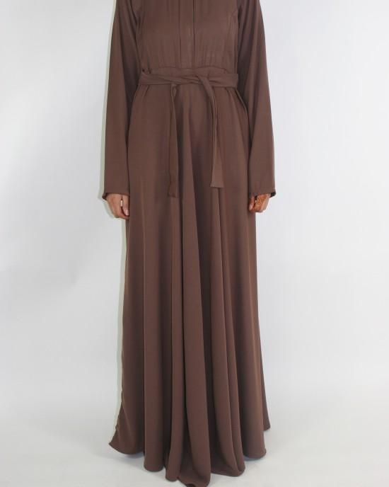 Amani's Brown A-line Long Sleeve Maxi Dress With Pleats Style UK - Long Sleeve Maxi Dresses - MaxiDress041