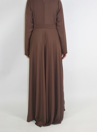 Amani's Brown A-line Long Sleeve Maxi Dress With Pleats Style UK