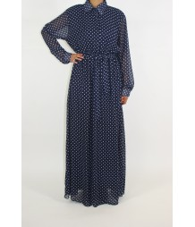Navy Blue Polka Dot Dress PD002
