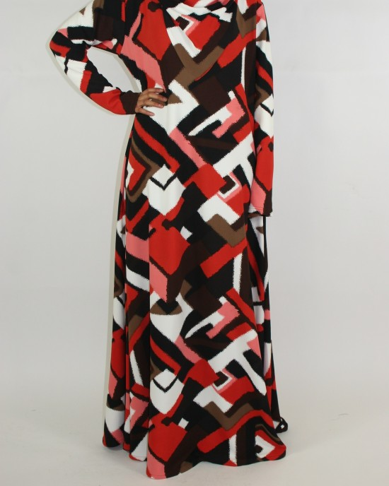 bold abstract design hooded dress long sleeve maxi dress - CLEARANCE - G010