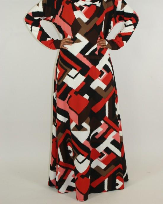 bold abstract design hooded dress long sleeve maxi dress - CLEARANCE - G010