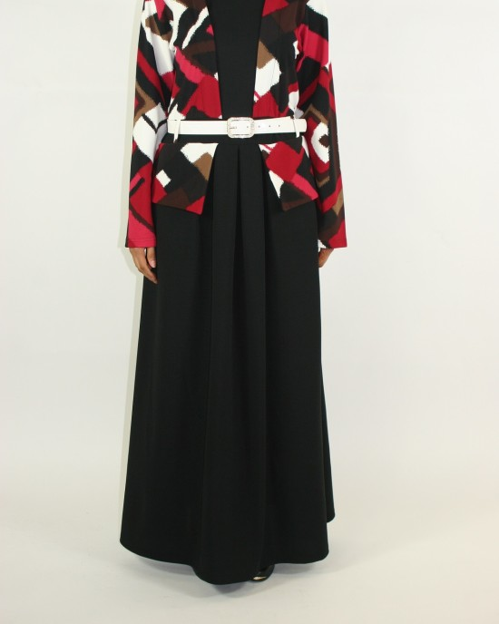 jacket layered long sleeve maxi dress Style - CLEARANCE - G011