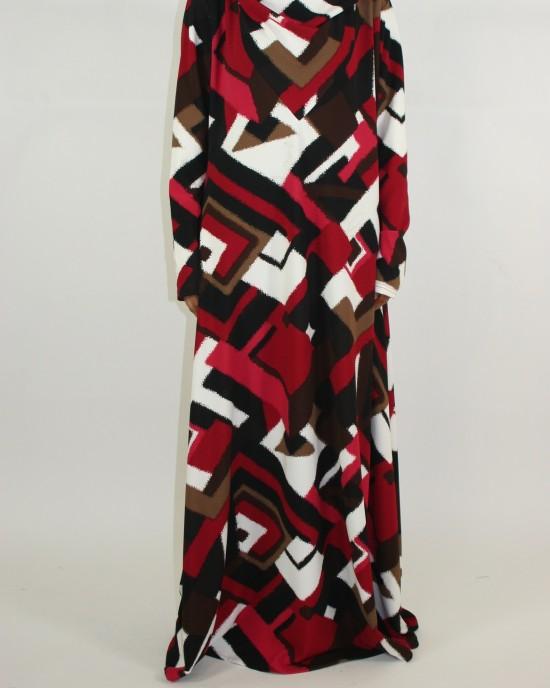 A-line cut hooded long sleeve maxi dress style - CLEARANCE - G012