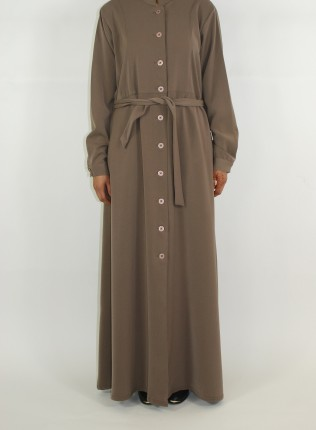 Amani's Dark Beige Long Sleeve Maxi Jacket Style UK