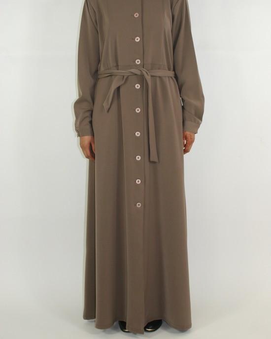 Amani's Dark Beige Long Sleeve Maxi Jacket Style UK - Jackets - Jacket014