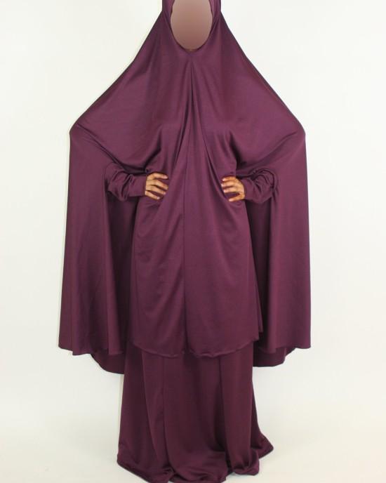 Amani's 2 Piece Purple Jersey Stretch Overhead Jilbab – Burka – Burqa Style UK - Burqa - Jilbabs - Burka - Jilbab004
