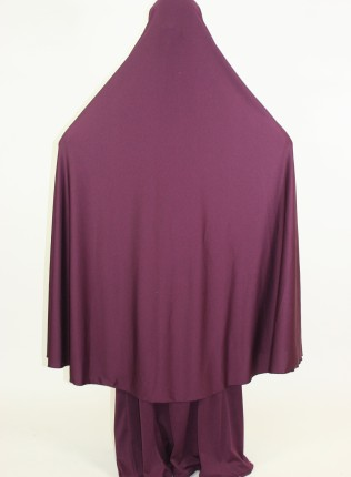 Amani's 2 Piece Purple Jersey Stretch Overhead Jilbab – Burka – Burqa Style UK