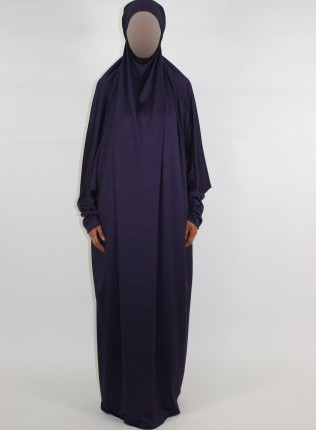 Amani's 1 Piece Purple Jersey Stretch Overhead Jilbab – Burka – Burqa Style UK