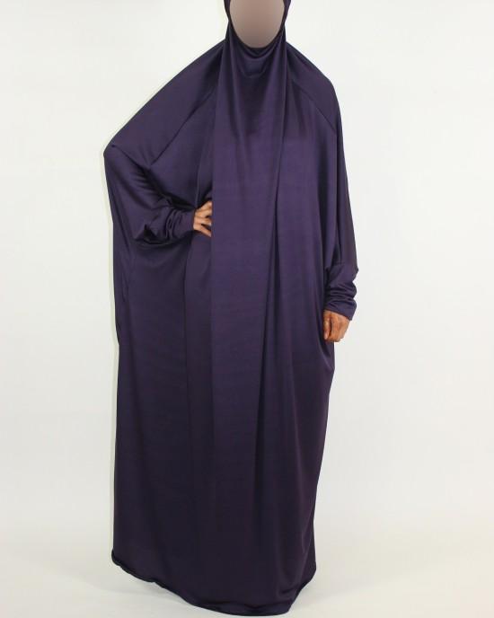 Amani's 1 Piece Purple Jersey Stretch Overhead Jilbab – Burka – Burqa Style UK - Burqa - Jilbabs - Burka - Jilbab002