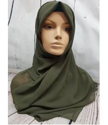 Georgette Hijab - khaki Green