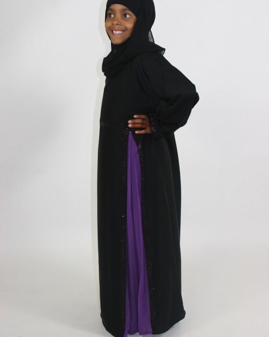 Amani's Purple And Black Kids Abaya Style UK - Childrens Abayas - KidsAbaya013