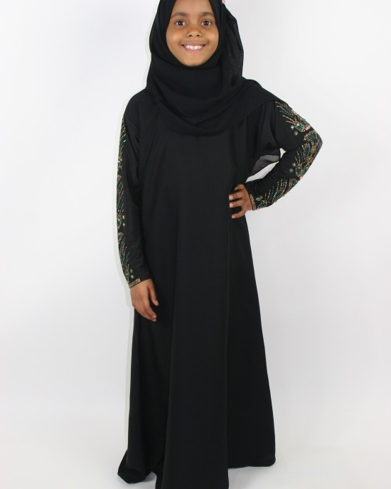 childrens abaya with jersey stretch sleeves - Childrens Abayas - A010