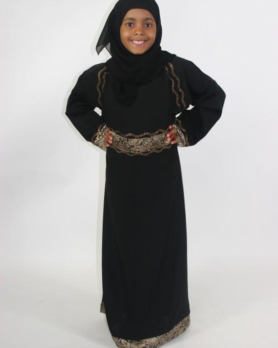 Amani's Black And Gold Kids Abaya Style UK - Childrens Abayas - KidsAbaya006