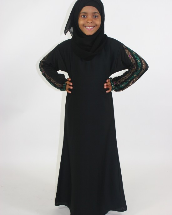 Gold And Purple rhinestones Kids Black Abaya With Jersey Sleeves - Childrens Abayas - A013