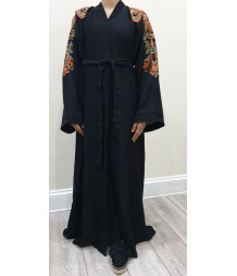 Najad balck and orange open abaya style UK