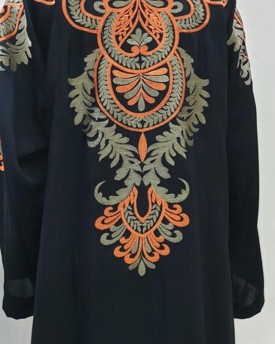 Najad black and orange open abaya style UK - Abayas - NJ19