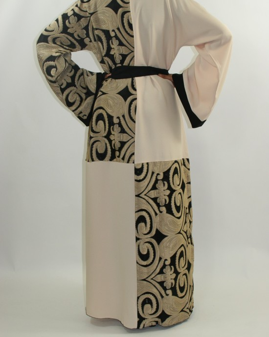 Amani's Cream Designer Open Abaya Style UK - Abayas - Abaya075