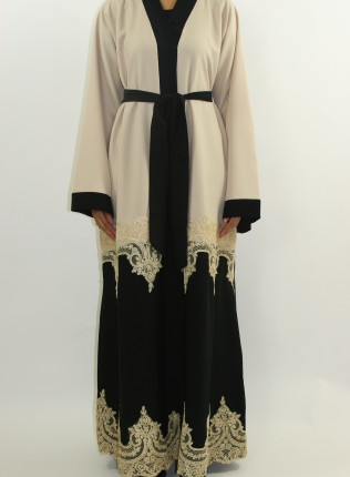 Amani's Cream Designer Open Abaya Style With Border Lace UK