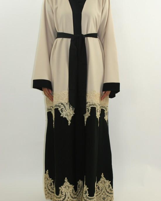 Amani's Cream Designer Open Abaya Style With Border Lace UK - Abayas - Abaya069