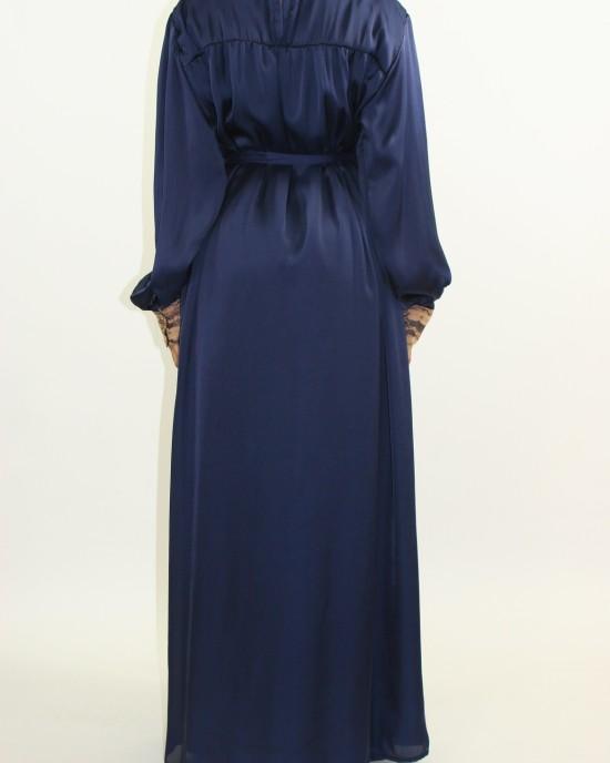 Amani's Navy Blue Silk Long Sleeve Maxi Dress Style UK - Long Sleeve Maxi Dresses - MaxiDress049