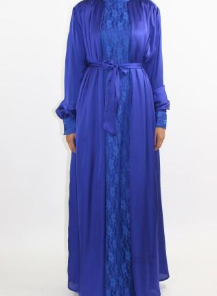 Amani's Blue Silk Long Sleeve Maxi Dress Style UK