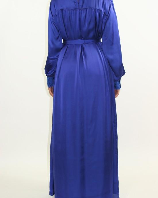 Amani's Blue Silk Long Sleeve Maxi Dress Style UK - Long Sleeve Maxi Dresses - MaxiDress048