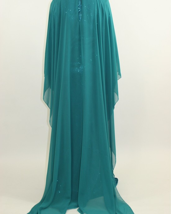 Amani's – Occasion Long Sleeve Maxi Style With Attached Chiffon Cape Style UK - Long Sleeve Maxi Dresses - MaxiDress068