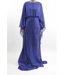 Amanis Occasion Long Sleeve Maxi Style With Attached Chiffon Cape Style Uk