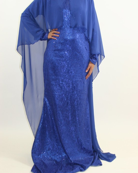 Amani's – Occasion Long Sleeve Maxi Style With Attached Chiffon Cape Style UK - Long Sleeve Maxi Dresses - MaxiDress047